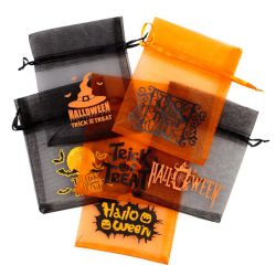 20 pcs Halloween Organza Bag 12 x 15 cm - mix of patterns and colours Decorative Organza bags