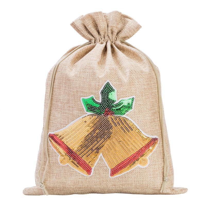 1 pc Burlap bag 26 cm x 35 cm - Christmas, Bells