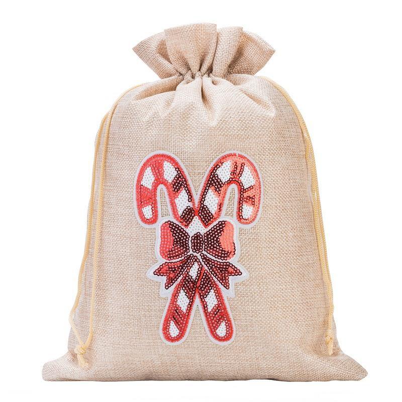 1 pc Burlap bag 26 cm x 35 cm - Christmas, Lollipop