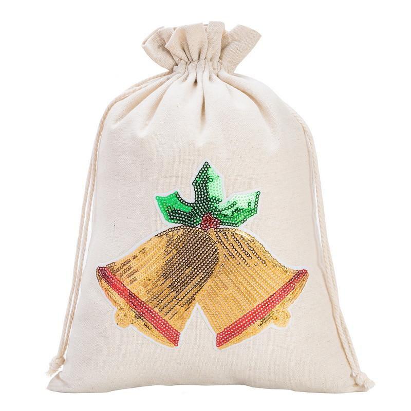 1 pc Linen bag 26 x 35 cm - Christmas, Bells