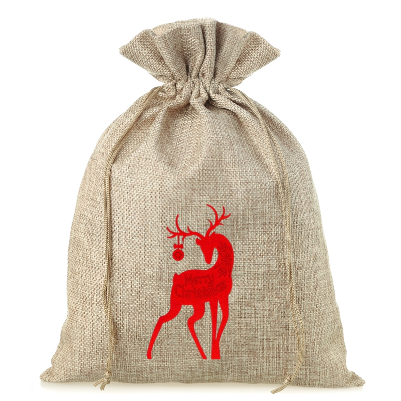 1 pc Burlap bag 30 cm x 40 cm - Christmas - Deer