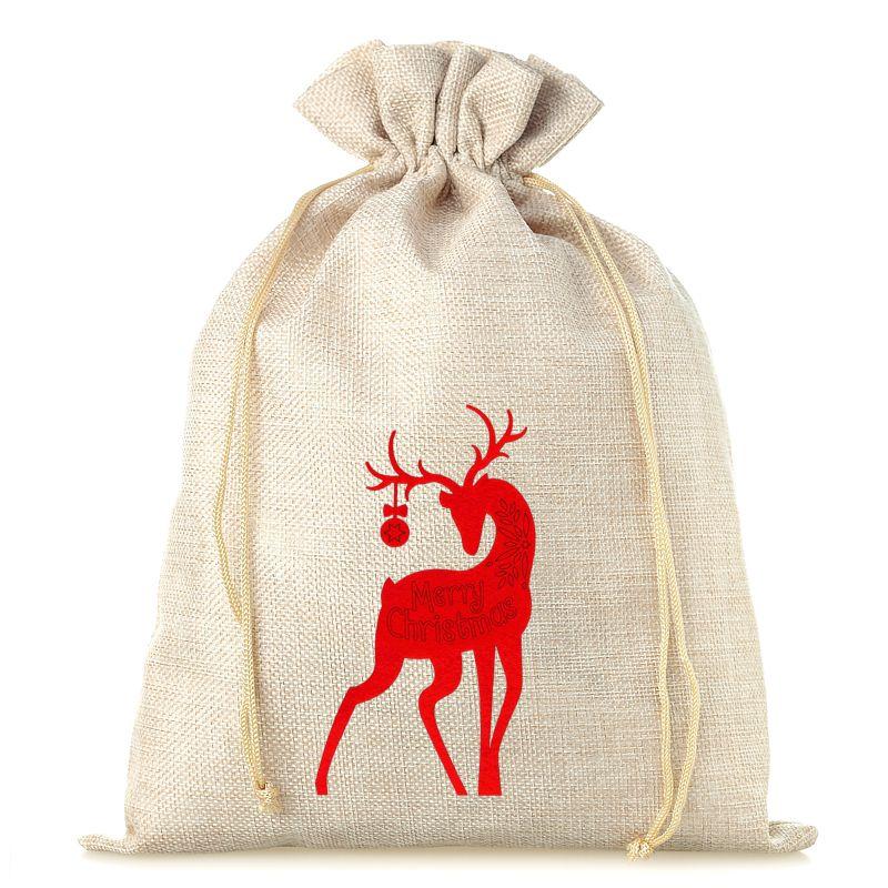 1 pc Burlap bag 26 cm x 35 cm - Christmas - Deer