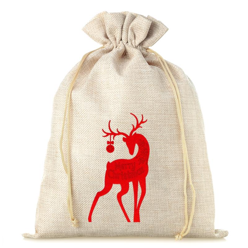 1 pc Burlap bag 26 cm x 35 cm - Christmas Burlap bags