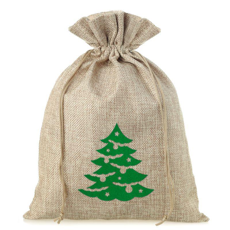 1 pc Burlap bag 26 cm x 35 cm - Christmas tree