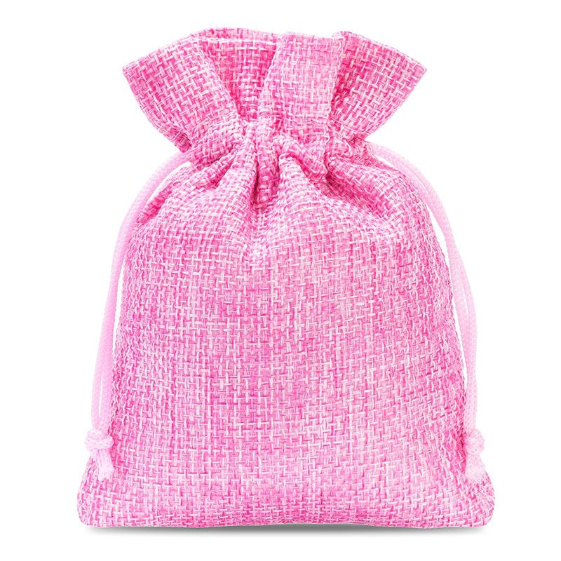 10 pcs Burlap bag 8 cm x 10 cm - light pink