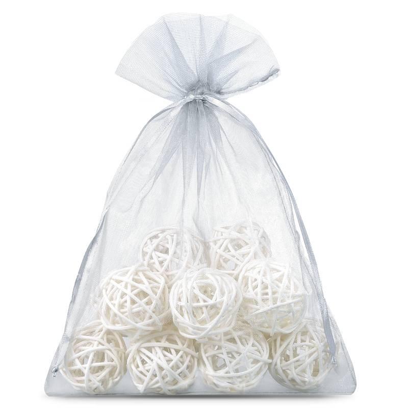 25 pcs Organza bags 12 x 15 cm - silver Decorative Organza bags