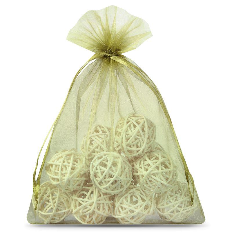10 pcs Organza bags 15 x 20 cm - olive green