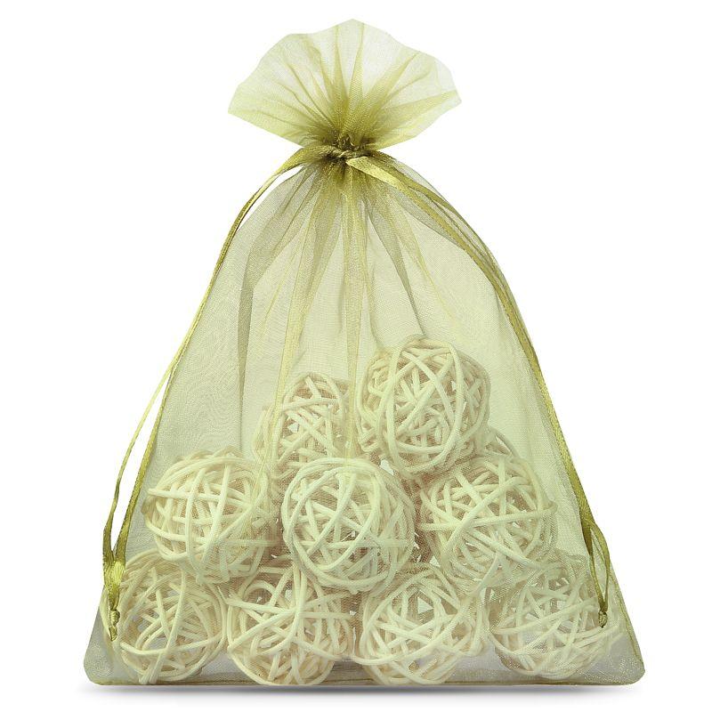 10 pcs Organza bags 22 x 30 cm - olive green