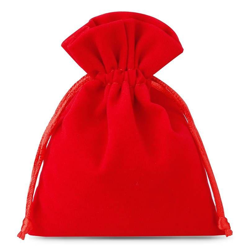 10 pcs Velvet pouches 6 x 8 cm - red
