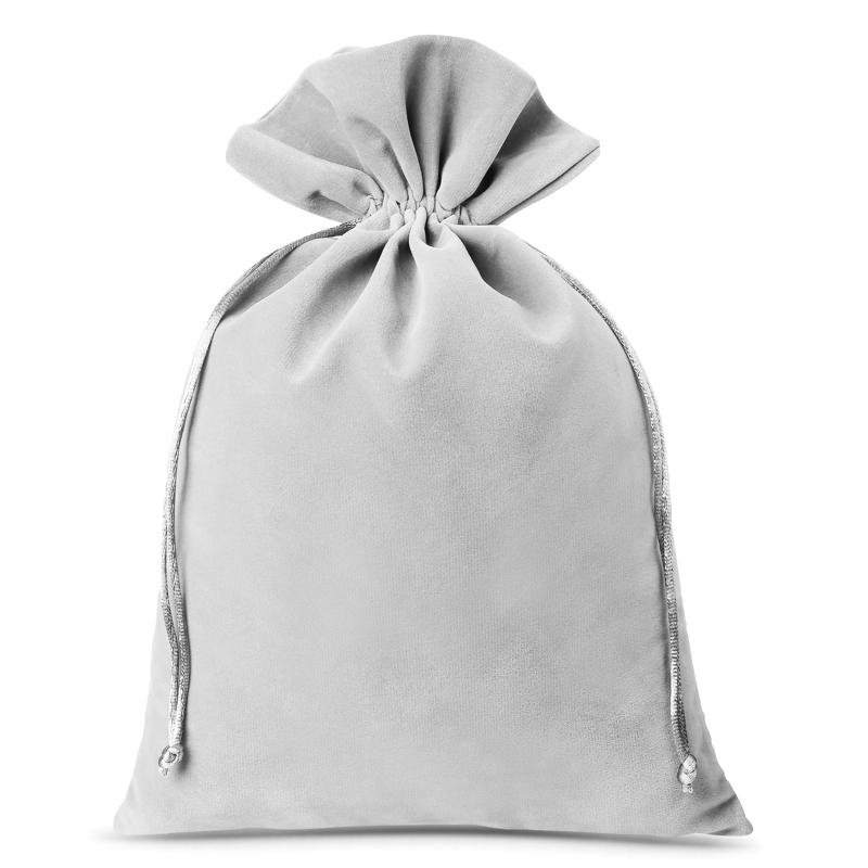 3 pcs Velvet pouches 26 x 35 cm - silver