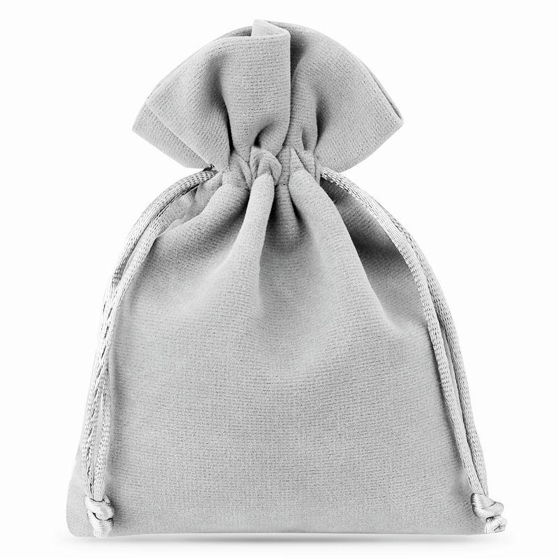 10 pcs Velvet pouches 10 x 13 cm - silver