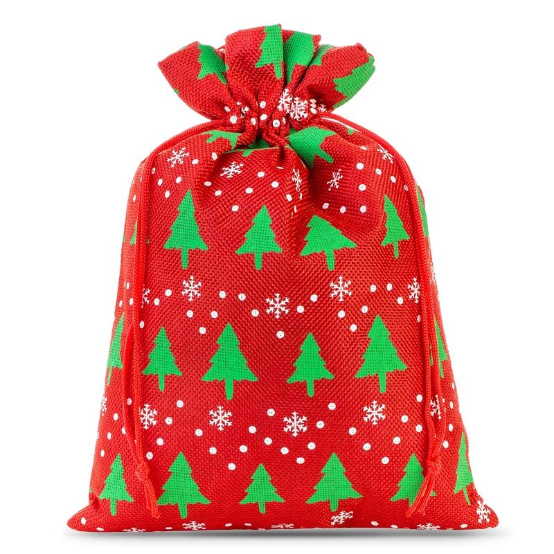 1 pc Burlap bag 30 x 40 cm - red / Christmas tree