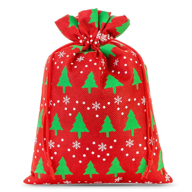 1 pc Jute bag 40 x 55 cm - red / Christmas tree