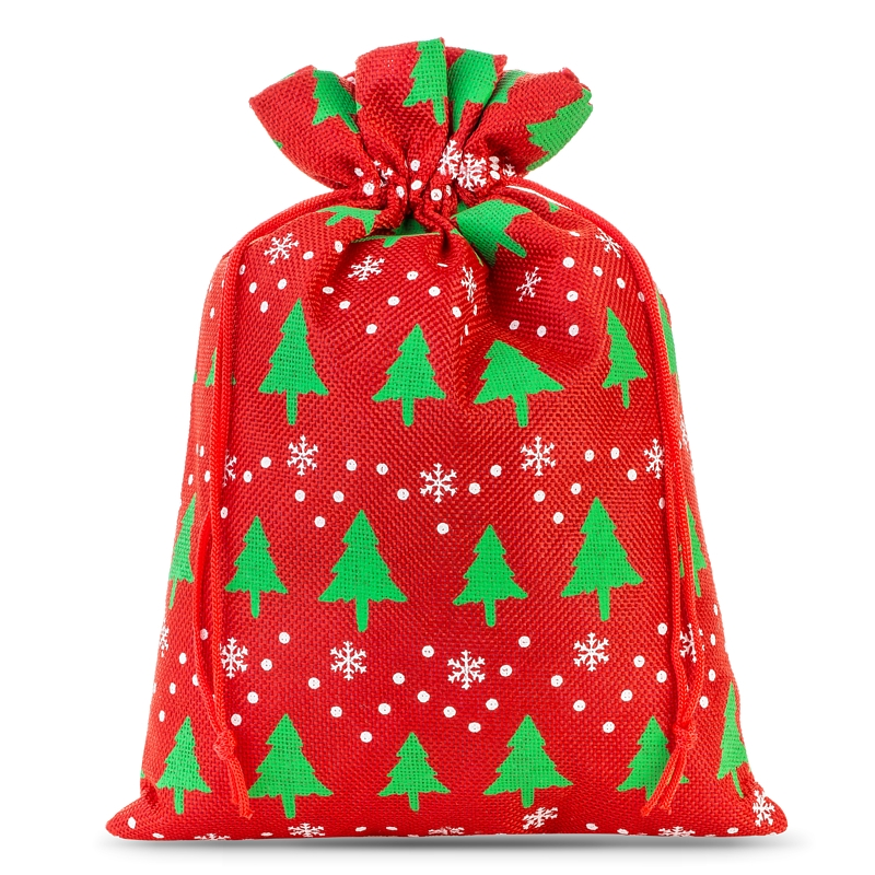 1 pc Burlap bag 40 x 55 cm - natural Christmas bag