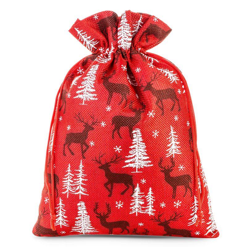 1 pc Jute bag 30 x 40 cm - red / reindeer