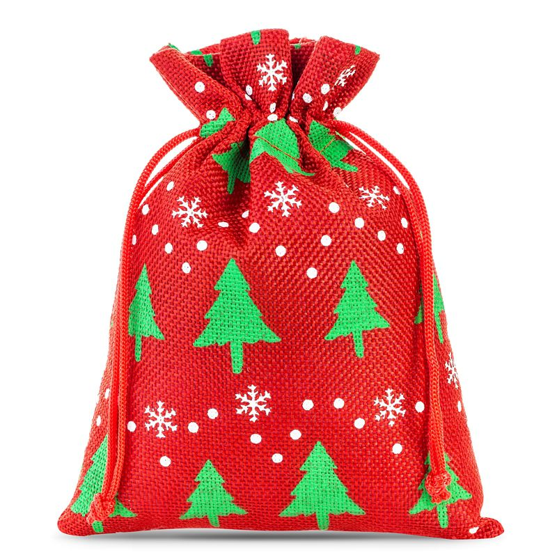 10 pcs Burlap bags 12 x 15 cm - red / Christmas tree