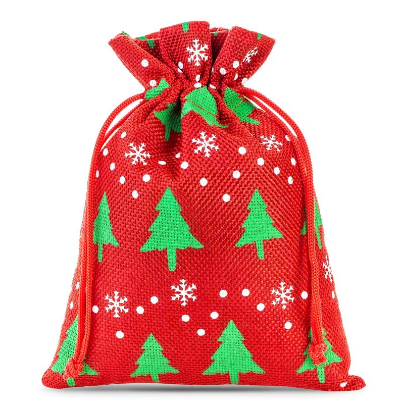 10 pcs Burlap bags 12 x 15 cm - red / Christmas tree