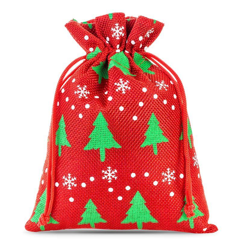 3 pcs Burlap bag 22 x 30 cm - red / Christmas tree