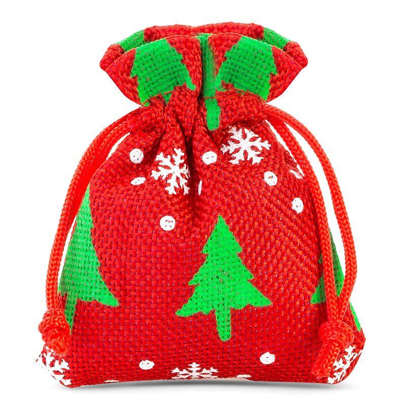 10 pcs Burlap bags 10 x 13 cm - red / Christmas tree