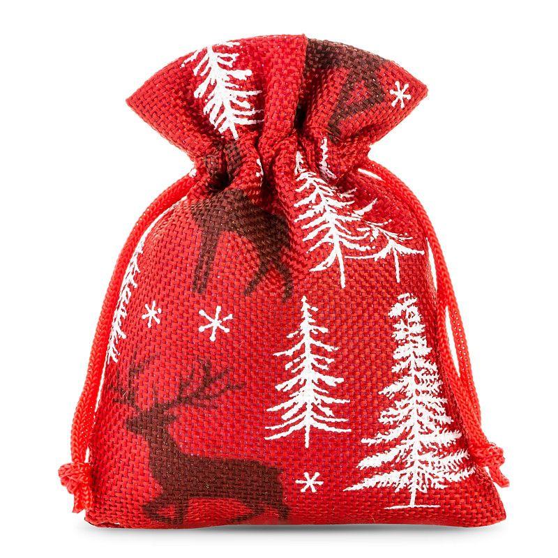 10 pcs Burlap bags 10 x 13 cm - red / reindeer