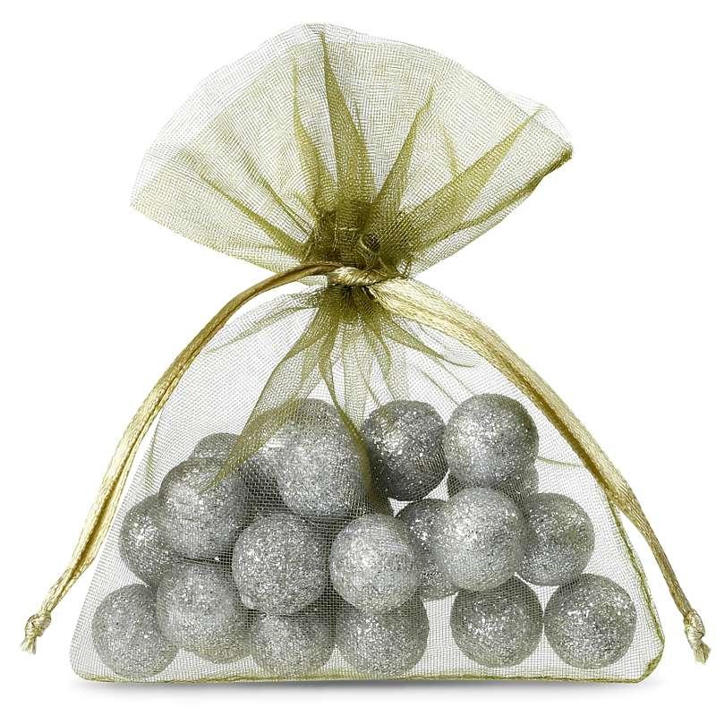 25 pcs Organza bags 7 x 9 cm - olive green