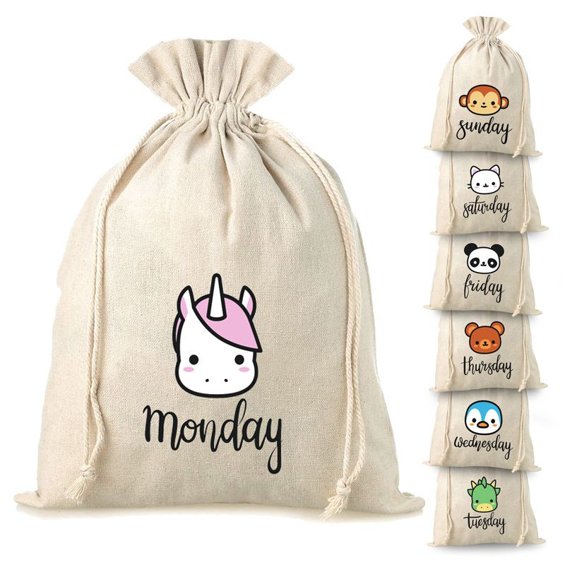 7 pcs. Linen bags 30 x 40 cm with printing - 7 days of the week
