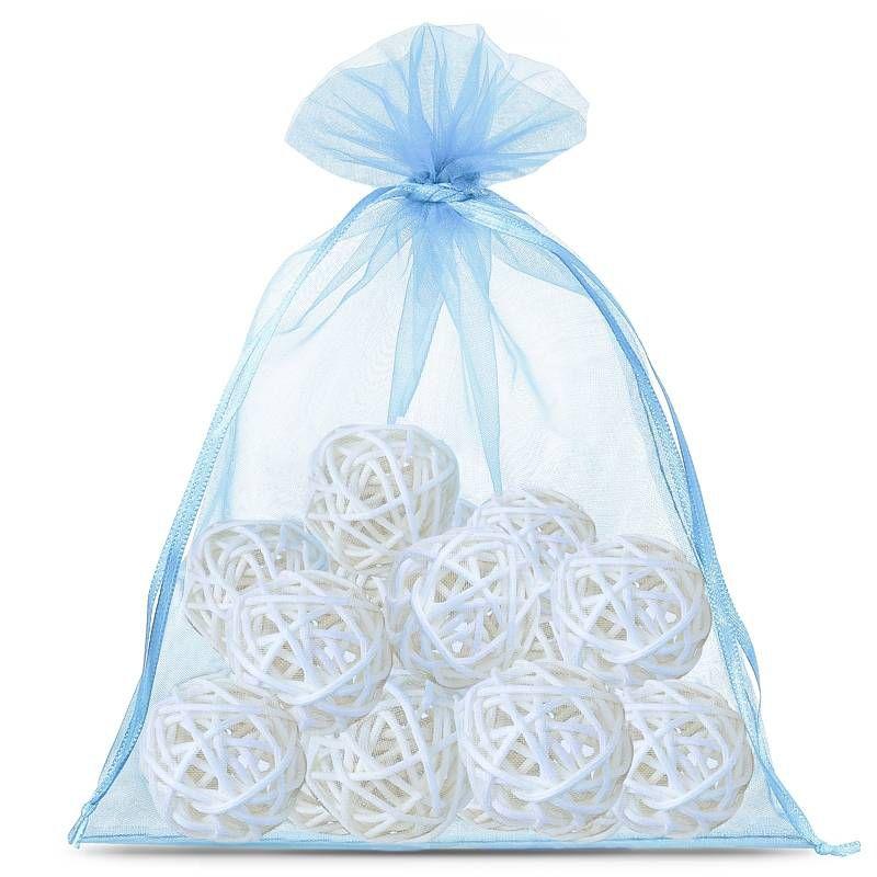 5 pcs Organza bags 40 x 55 cm - light blue