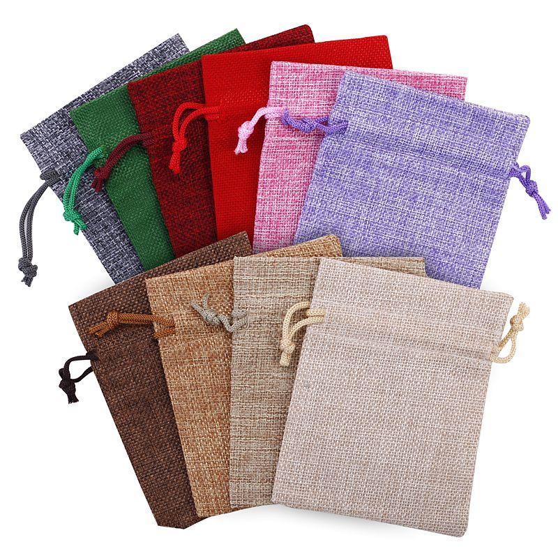 10 pcs Burlap bag 13 cm x 18 cm - colour mix