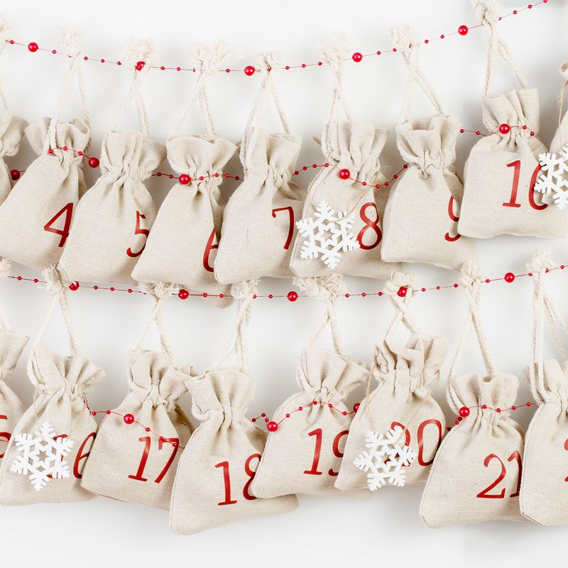 Advent calendar, 24 pcs linen bags 10 x 13 cm - natural
