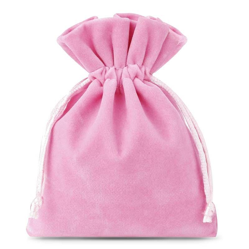 10 pcs Velvet pouches 13 x 18 cm - light pink