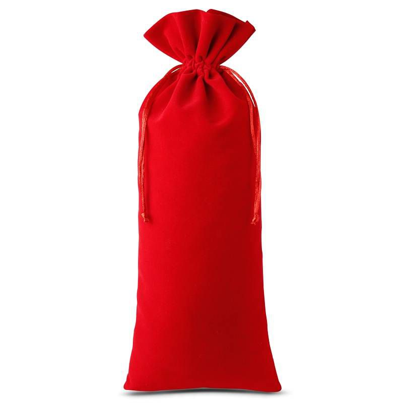 10 pcs Velvet pouches 11 x 20 cm - red