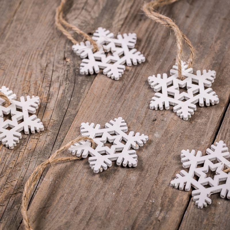 5 pcs. Wooden stars 4,5 x 5,5 cm - white