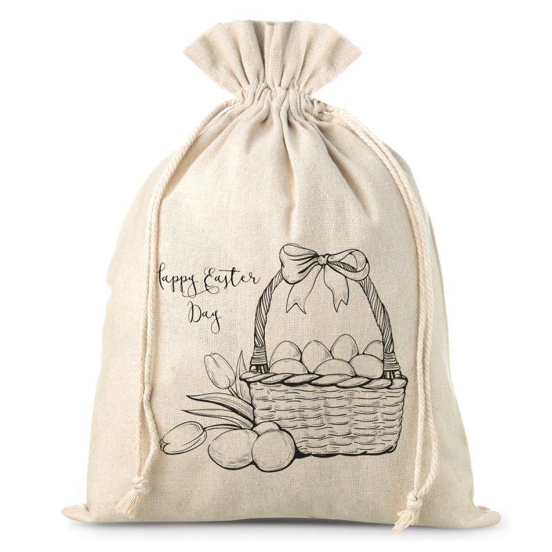 1 pc 30 x 40 cm linen bag with a basket print