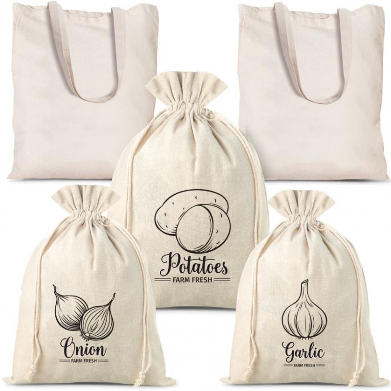 5 pcs Linen bags for vegetables (3 pcs) and cotton shopping bags (2 pcs)