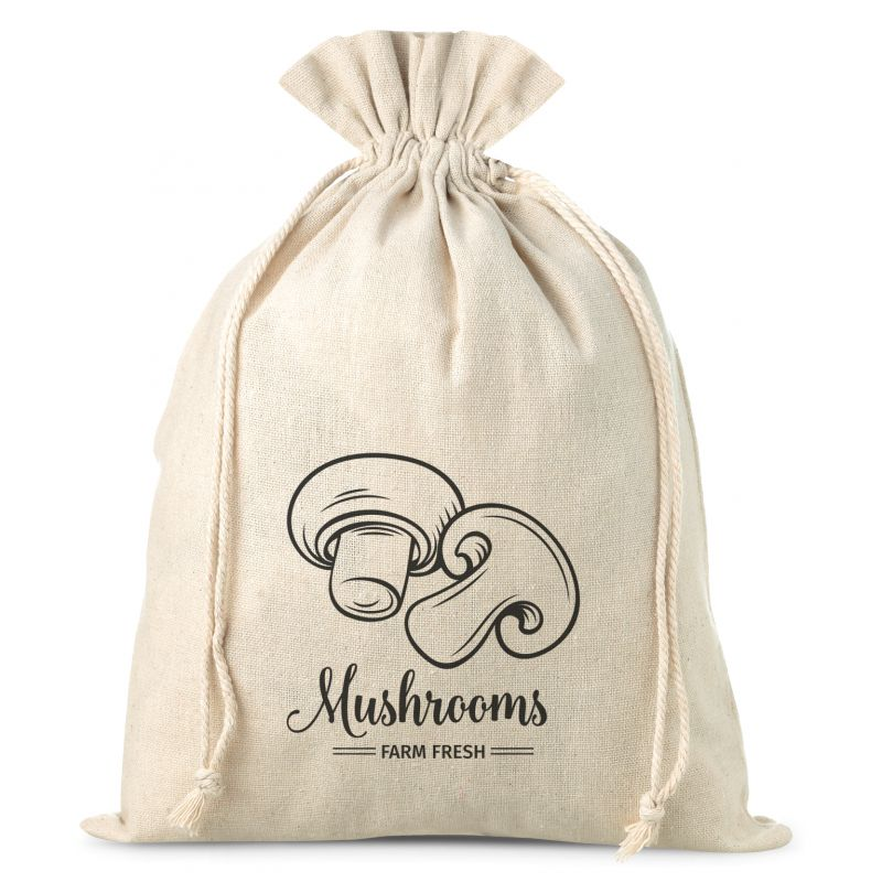 1 pc Linen bag with printing 22 x 30 cm - for mushrooms