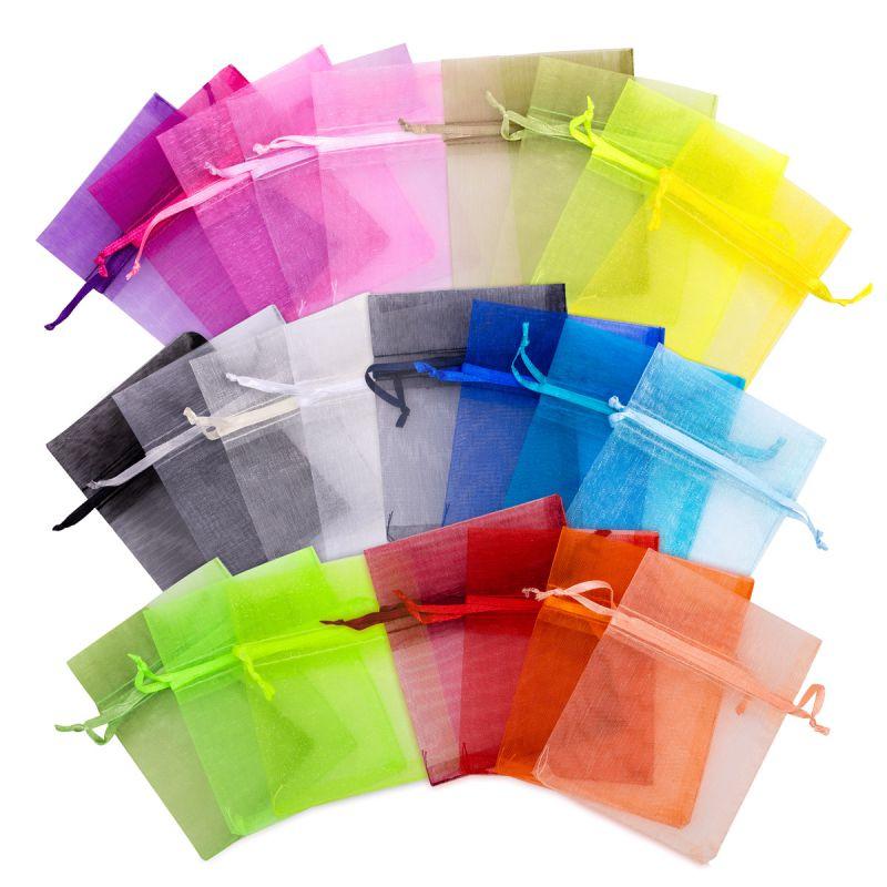 5 pcs Organza bags 35 x 50 cm - colour mix