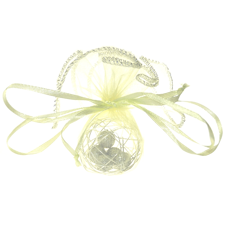 10 pcs Organza bags circle 22 cm - ecru Decorative Organza bags
