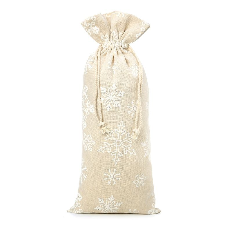 1 pc Linen bag with printing 16 x 37 cm - natural / snow