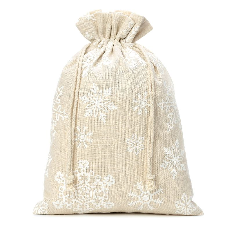 1 pc Linen bag with printing 26 x 35 cm - natural / snow