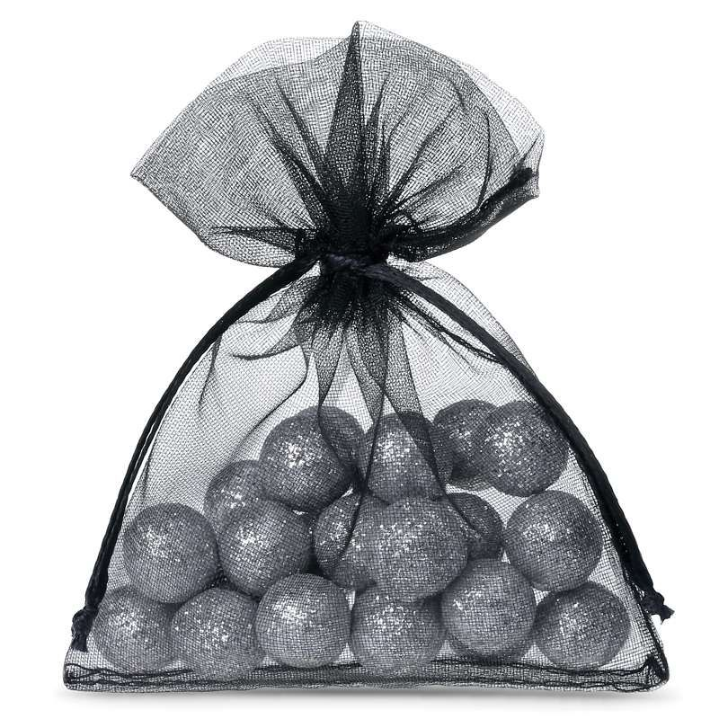 25 pcs Organza bags 6 x 8 cm - black