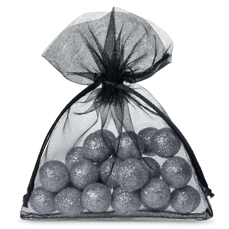 25 pcs Organza bags 6 x 8 cm - black Decorative Organza bags