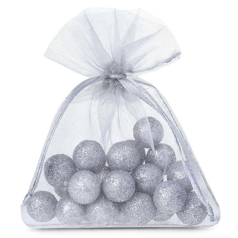 25 pcs Organza bags 5 x 7 cm - silver