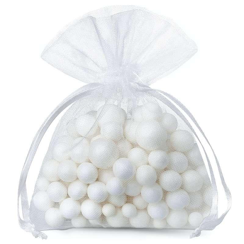 25 pcs Organza bags 9 x 12 cm - white