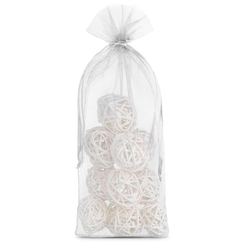 10 pcs Organza bags 13 x 27 cm - white
