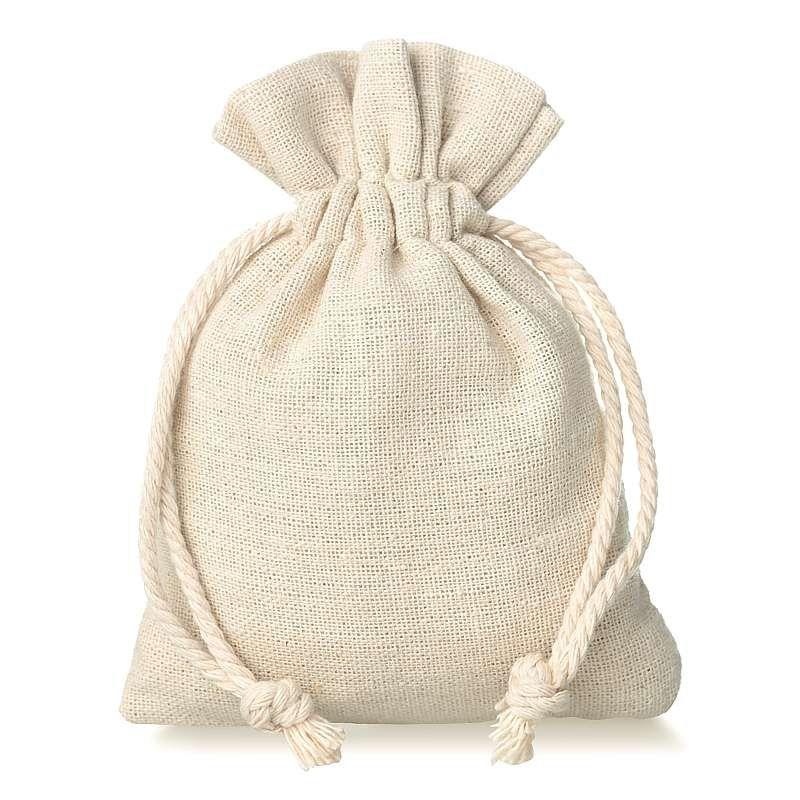 10 pcs Linen bag 9 cm x 12 cm - natural
