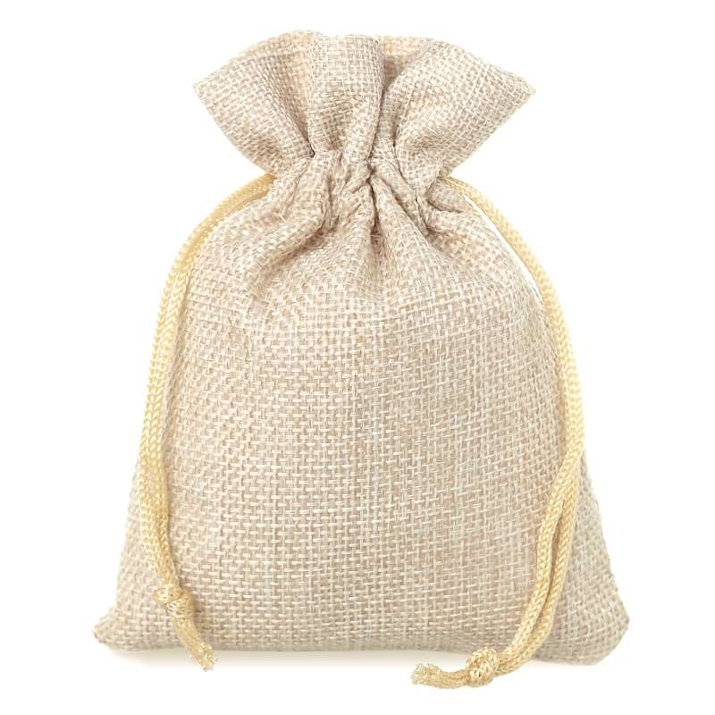 10 pcs Burlap bag 10 x 13 cm - light natural