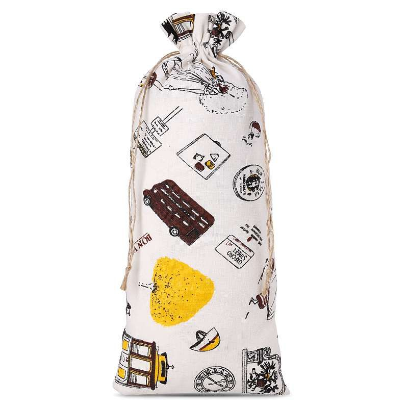 1 pc Linen bag with printing 16 x 37 cm - natural / traveling