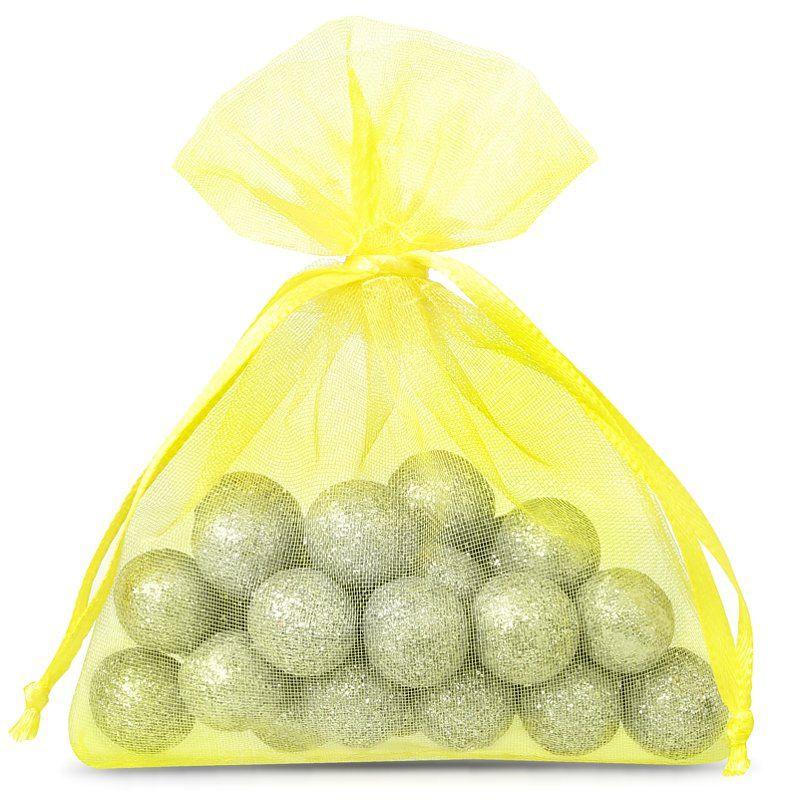 25 pcs Organza bags 9 x 12 cm - yellow