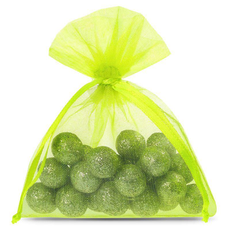25 pcs Organza bags 8 x 10 cm - neon green