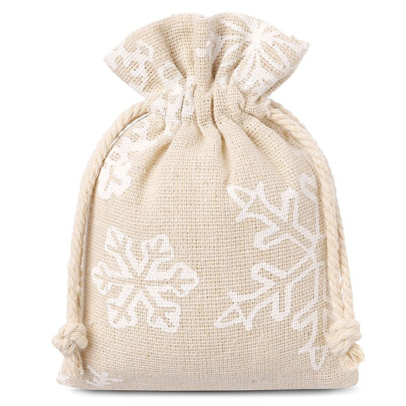 10 pcs Linen bags with printing 9 x 12 cm - natural / snow